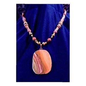 Natural Jasper Stone Pendant Necklace